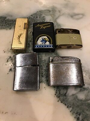 Lot of 5 Vintage Cigarette Lighters Ever Ready PAC Buxton KRON American