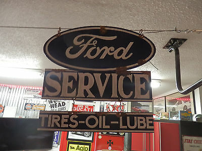 antique style porcelain look Ford blue oval dealer service garage sign 2 piece