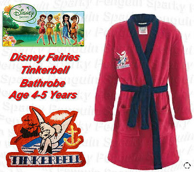 Authentic Disney Fairies Tinkerbell Dressing Gown Bath Robe Age 4-5 Years Girls