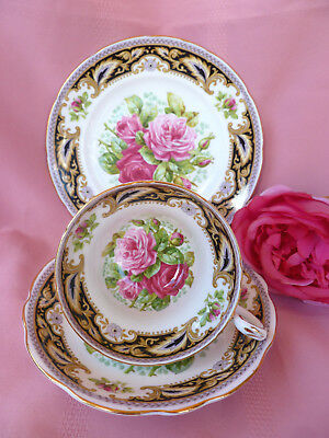 Vintage~c1950~EB~FOLEY~FLORENCE~Shabby~Pink~Rose~High~Tea~Trio~Cup~Saucer~1