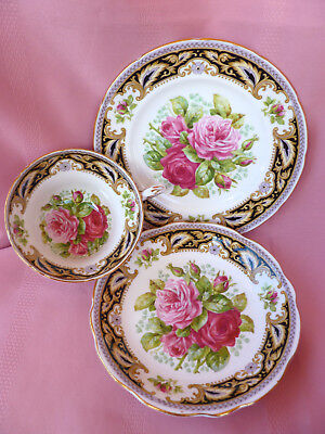 Vintage~c1950~EB~FOLEY~FLORENCE~Shabby~Pink~Rose~High~Tea~Trio~Cup~Saucer~5