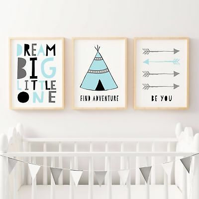 Boys Tribal Nursery Bedroom Decor Wall Art Prints - Teepee, Arrows, A4 A3 - Blue