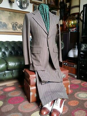 "Vintage 1960's 70's Northern Soul Flared Pin Stripe Suit.Small.36-38""C,28-30""W."