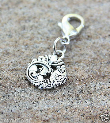 Lotus Fish crafted Detailed Silver tone both sided clip on charm Zipper pull New
