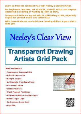 Artists Transparent Drawing Grids.  NEW updated 2018 Pack.  Pencil draw system.