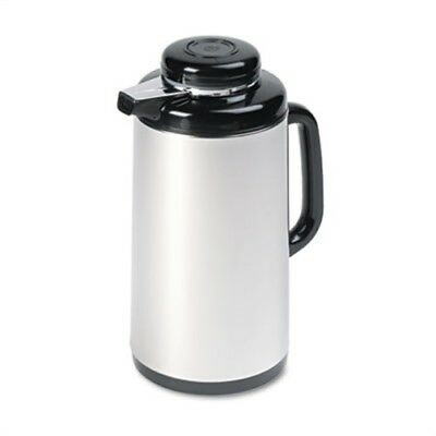 Vacuum Glass Lined Mirror Finish Stainless Steel/Black Carafe, 1L Capacity