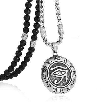 """Stainless Steel Eye of Horus Pendant Necklace Natural Agate Stone Chain 26"""""""