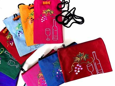 Silk purses/ pouches with zip & Phone pouches, Margaret River embroidery, 170pcs