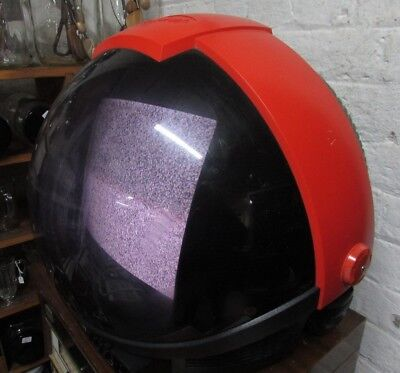Red Helmet Shape Phillips Discoverer Television Vintage Space Age Electronic