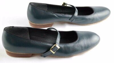 womens sz 7.5 tic tac toes blue leather dancing shoes w strap 948