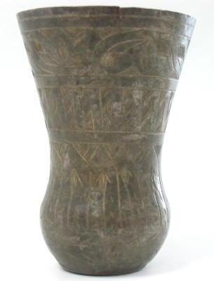 Antique Ottoman Turkish Brass Art Carved Engraved Vase Cup Turkey