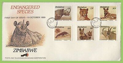 Zimbabwe 1989 Endangered Species, Animals set on First Day Cover