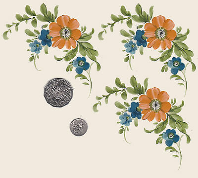 "3xWaterslide ceramic decals Decoupage Orange/blue floral Approx 4 1/4""x 3"" PD411"