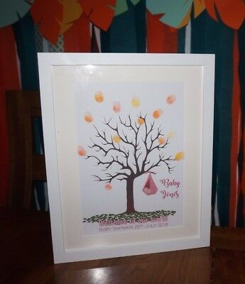 Personalised Baby Shower Print A4 Boy/Girl Tree Fingerprint Guest Book +Ink pad