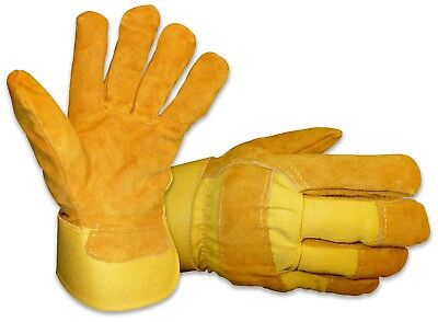 MENS B&G HEAVY WORK INSULATED FLEECE PILE LINED LEATHER WINTER GLOVES Sz Large L