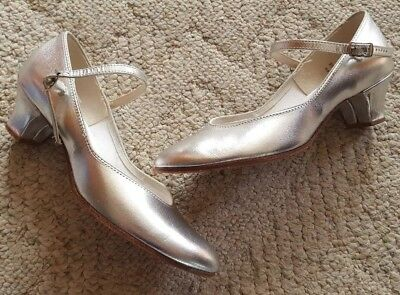 Ladies Womens Dance Fashions Mary Jane Silver Shoes Dance 8 Med