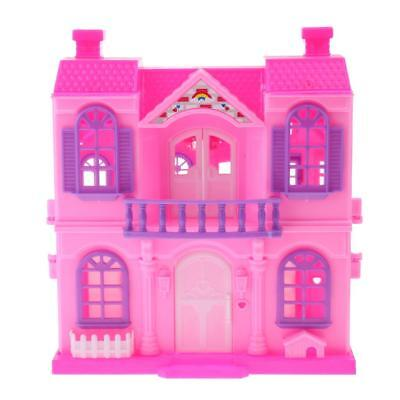2 Storey Doll Dream House Play Set for Barbie Doll Children Pretend Play Toy