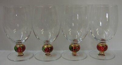 Christopher Radko HOLIDAY CELEBRATIONS Ice Tea Stems RED GREEN Set of FOUR