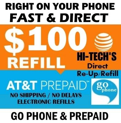 $100 AT&T PREPAID & GO PHONE FASTEST ONLINE REFILL 25yr USA TRUSTED DEALER