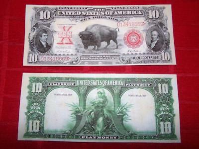 "1901 $10.00 ""bison"" Red Seal One Sided Orginal Size Prop Note Read Description!"