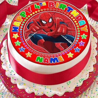 Spiderman Red Personalised Precut 7.5 Inch Edible Birthday Cake Topper