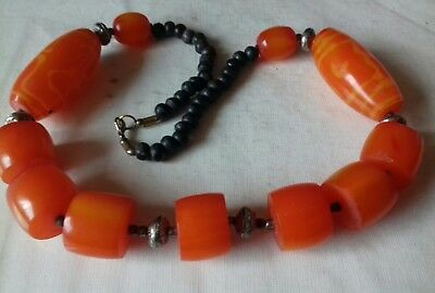 """Vintage Orange Plastic/ Lucite? Resin CHUNKY 25"""" beaded necklace 1960s 1970s"""