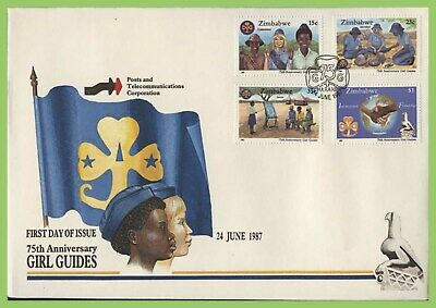 Zimbabwe 1987 75th Anniv of Girl Guides Association set on First Day Cover
