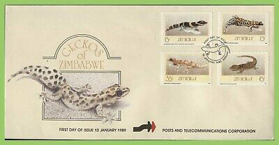 Zimbabwe 1989 Geckos set on First Day Cover
