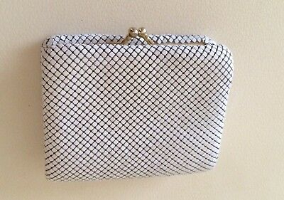 Vintage White Gold Glomesh Tri Fold Wallet & Coin Purse Credit Card Slots