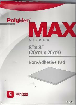 """Brand New Box of 5 Polymem MAX® Silver 8"""" x 8"""" Wound Dressings #1088 Exp 12/2018"""