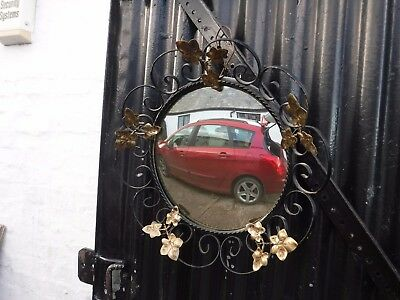 Wrought Iron  & Gilt  Convex  Mirror.  Yellow  Tint.  Free  Delivery.
