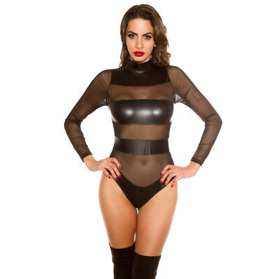 Black KouCla Leather Look High Low Bustier With Mesh Tail And Front Zip