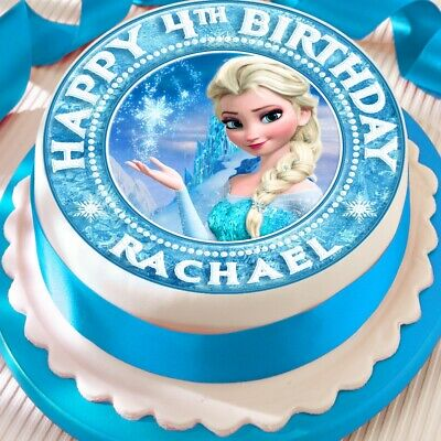 Frozen Personalised Elsa Precut Edible  Birthday Cake Topper Decoration