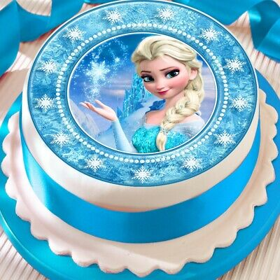 Pleasant Disney Frozen Elsa Birthday Cake Edible Round Printed Cake Topper Funny Birthday Cards Online Unhofree Goldxyz