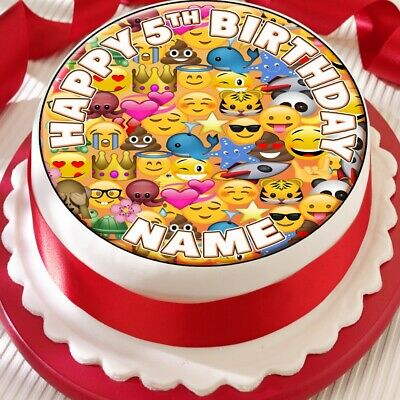 Emoji Smiley Personalised Precut Edible Birthday Cake Topper Decoration