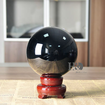 Big 150mm Black Crystal Ball Home&Office Fengshui Gift + Free Wooden Stand