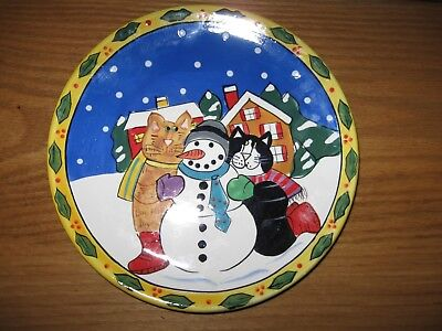"8"" Catzilla Candace Reiter Cat & Snowman Winter Christmas Plate  Unused"