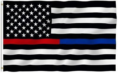 3x5 American Flag Blue Red Thin Line Honoring Law Enforcement Police Firefighter