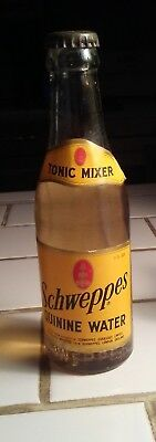 Vintage Full SCHWEPPES QUININE TONIC WATER 6OZ BOTTLE BY WARWICK CLUB GINGER ALE