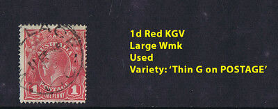 KGV a2) Australian KGV Stamps 1d Red Variety 'Thin G' on POSTAGE Used
