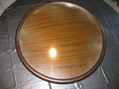 """LAZY SUSAN"", RARE BIG (23 in) ANTIQUE SOLID MAHOGANY W/ GLASS TOP"