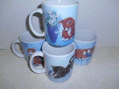 4 Porcelain Cat Kitten Two-Sided Mugs Cups, Very Realistic Paintings