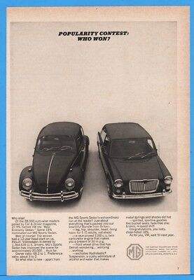 1965 Volkswagen VW Beetle MG Sports Sedan Car Driver Best Economy Print Ad