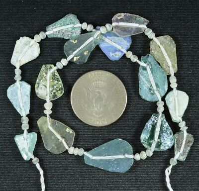 Ancient Roman Glass Beads 1 Medium Strand Aqua And Green 100 -200 Bc 729