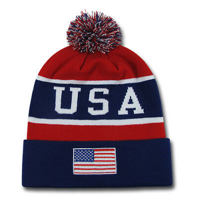 Team USA Winter Beanies American Flag Patriotic Football Sports Game Day Pom Top