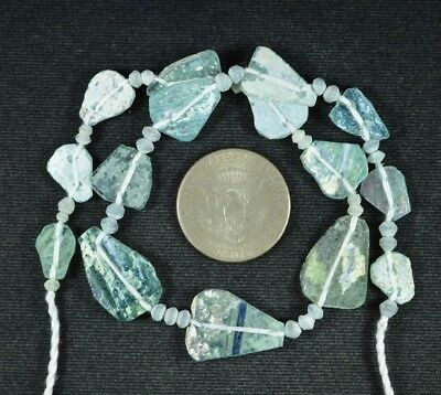 Ancient Roman Glass Beads 1 Medium Strand Aqua And Green 100 -200 Bc 730