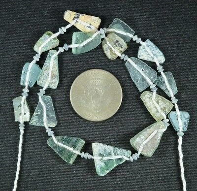 Ancient Roman Glass Beads 1 Medium Strand Aqua And Green 100 -200 Bc 731