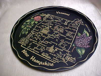Vintage 1950's Tin Litho Metal Round Tray Colorful Image on Black Gold Vermont