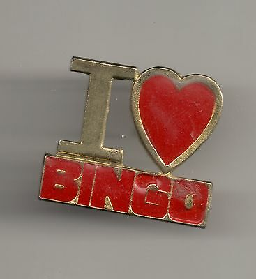 Vintage I LOVE  (heart) BINGO  old metal pin