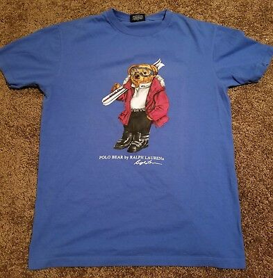 Vintage Ralph Lauren POLO BEAR Ski Skiing T-shirt Shirt SMALL RARE Blue